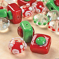 Red, Green & White Lampwork Beads - 4mm-16mm