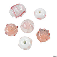 Pink & White Lampwork Glass Beads - 8mm-15mm