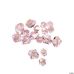 Light Pink Crystal Bicone Beads - 4mm-6mm