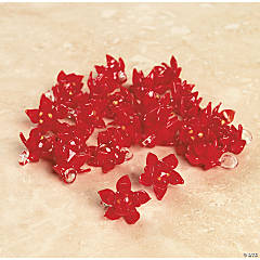 Red Poinsettia Lampwork Glass Beads - 12mm x 14mm
