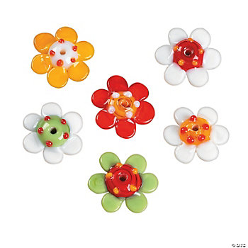 Bright Colored Daisy Lampwork Beads - 19mm