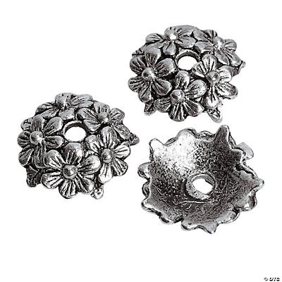 Silvertone Metal Bouquet Flower Bead Caps