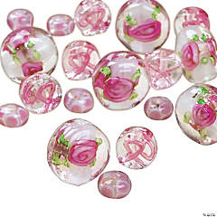 Flower & Pink Ribbon Clear Beads - 5mm-12mm