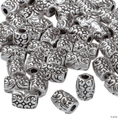 Silvertone Metal Swirly Barrel Beads - 6mm