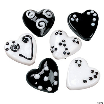 Black & White Heart Lampwork Glass Pendants