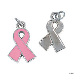 Pink Ribbon Enamel Charms