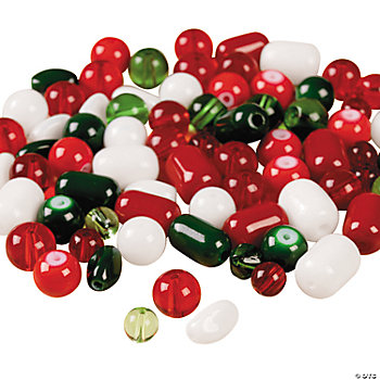 Holiday Colors Glass Bead Assortment -  6mm-8mm