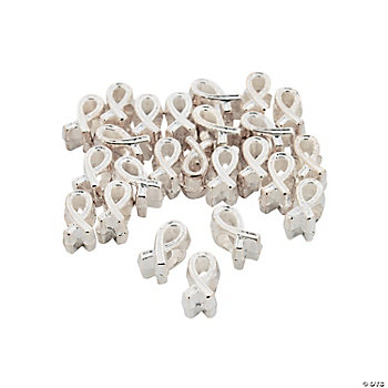 Silvertone Awareness Ribbon Large Hole Beads - 11mm