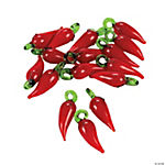 Red Chili Peppers Lampwork Beads - 22mm