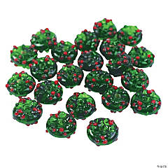 Christmas Wreath Lampwork Beads - 16mm