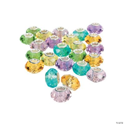 Pastel Faceted Large Hole Beads - 14mm