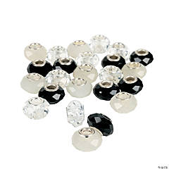 Black & White Faceted Large Hole Beads - 14mm