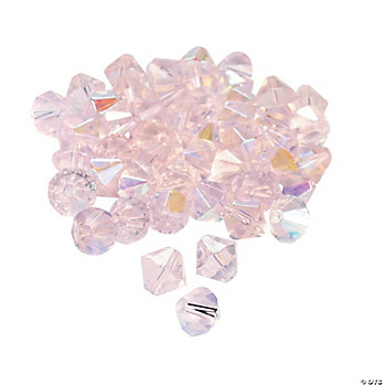 Light Pink AB Crystal Bicone Beads - 8mm