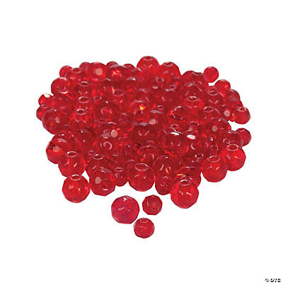 Garnet Cut Crystal Round Beads - 4mm-6mm