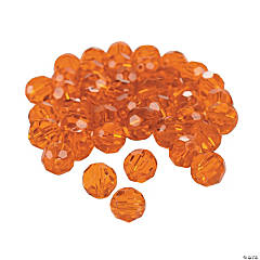 Sunset Orange Cut Crystal Round Beads - 8mm