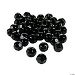 Jet Black Cut Crystal Round Beads - 8mm