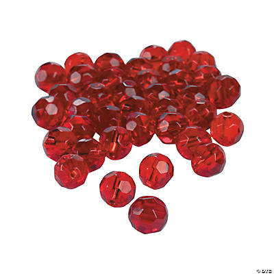 Garnet Cut Crystal Round Beads - 8mm