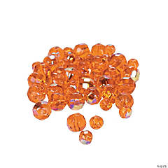 Sunset Orange AB Cut Crystal Round Beads - 4mm-6mm