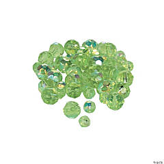 Peridot AB Cut Crystal Round Beads - 4mm-6mm