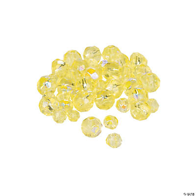 Canary Yellow Aurora Borealis Cut Crystal Round Beads - 4mm-6mm