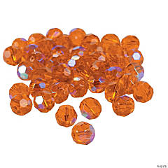 Sunset Orange Aurora Borealis Cut Crystal Round Beads - 8mm