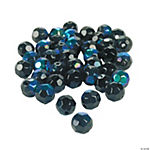 Jet Black Aurora Borealis Cut Crystal Round Beads - 8mm