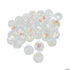 Clear Aurora Borealis Cut Crystal Round Beads - 8mm