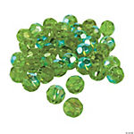 Emerald Aurora Borealis Cut Crystal Round Beads - 8mm