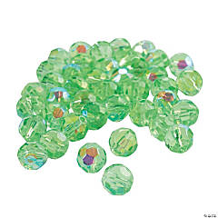 Peridot Aurora Borealis Cut Crystal Round Beads - 8mm