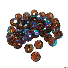Chocolate Brown Aurora Borealis Cut Crystal Round Beads - 8mm