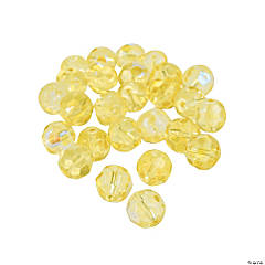 Canary Yellow Aurora Borealis Cut Crystal Round Beads - 8mm