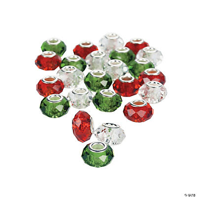 Red, Clear & Green Crystal Large Hole Beads - 14mm