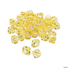 Canary Yellow Aurora Borealis Cut Crystal Bicone Beads - 8mm