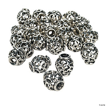 Silvertone Large Cutout Spacer Beads - 16mm