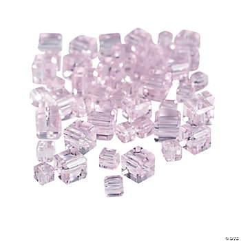 Light Pink Cube Cut Crystal Beads - 4mm-6mm
