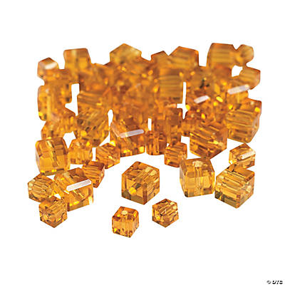 Topaz Cube Cut Crystal Beads - 4mm-6mm