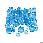 Blue Topaz Cube Cut Crystal Beads - 4mm-6mm