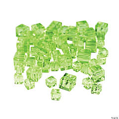 Peridot Cube Cut Crystal Beads - 4mm-6mm
