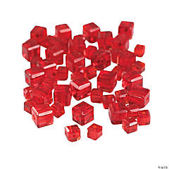 Garnet Cube Cut Crystal Beads - 4mm-6mm