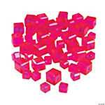Fuchsia Cube Cut Crystal Beads - 4mm-6mm