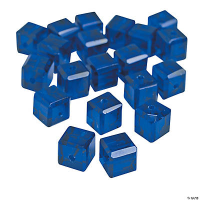 Sapphire Cube Cut Crystal Beads - 8mm