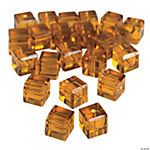 Topaz Cube Cut Crystal Beads - 8mm