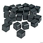 Jet Black Cube Cut Crystal Beads - 8mm