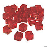 Ruby Cube Cut Crystal Beads - 8mm