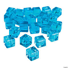 Aquamarine Cube Cut Crystal Beads - 8mm