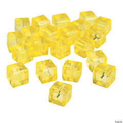 Canary Yellow Cube Cut Crystal Beads - 8mm