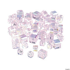 Light Pink Cube AB Cut Crystal Beads - 4mm-6mm