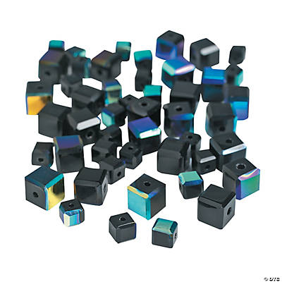 Jet Black Cube AB Cut Crystal Beads - 4mm-6mm
