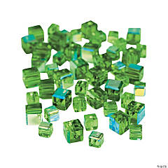 Emerald Cube AB Cut Crystal Beads - 4mm-6mm