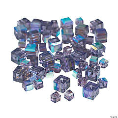 Amethyst Cube AB Cut Crystal Beads - 4mm-6mm